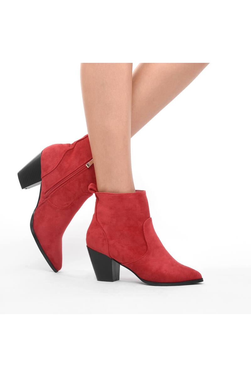 Piros női művelúr bokacsizma