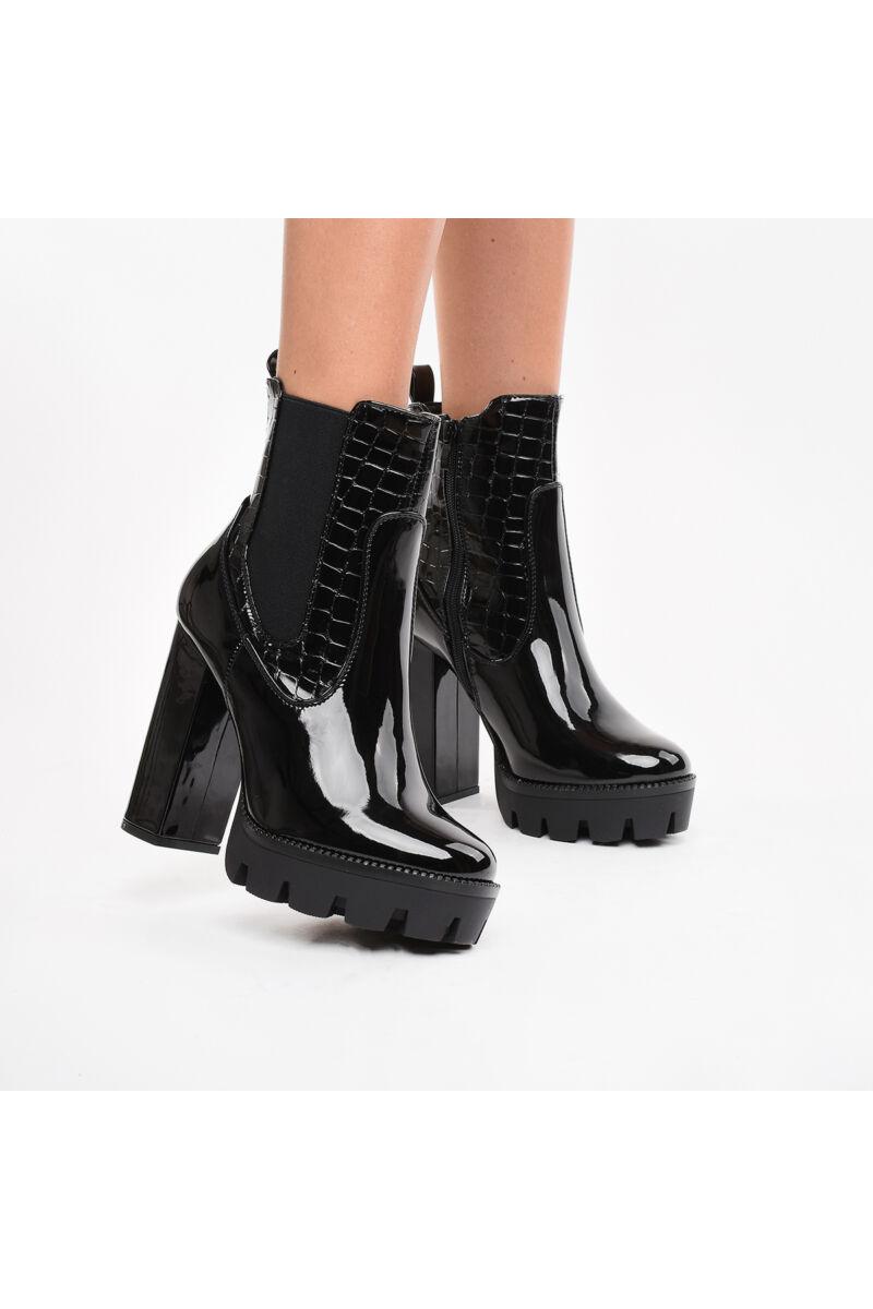 Fekete női magassarkú lakk bokacsizma
