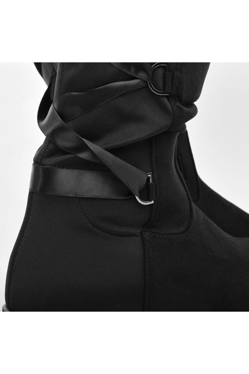 Fekete Fűzős Magasszárű Női Csizma
