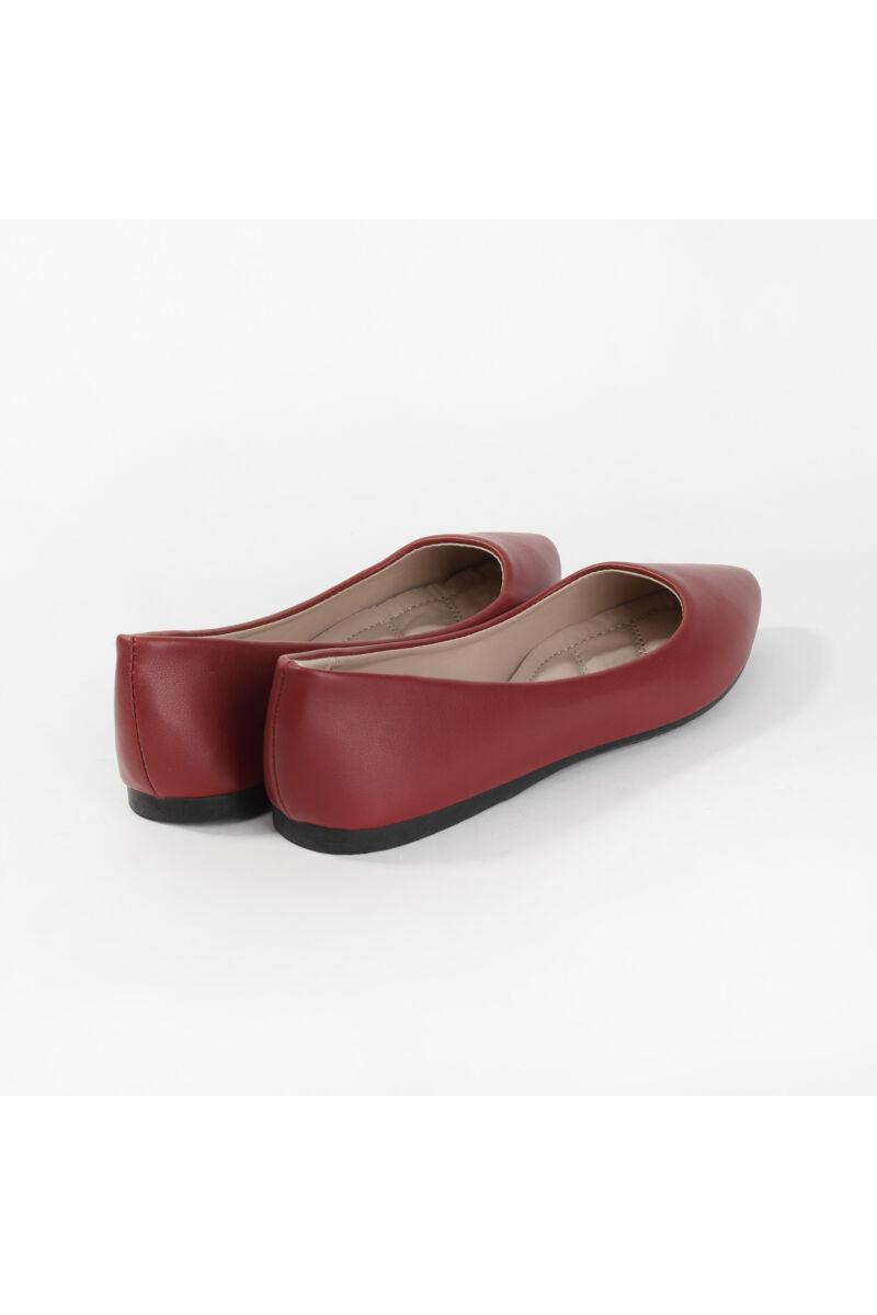 Piros Műbőr Balerina Cipő