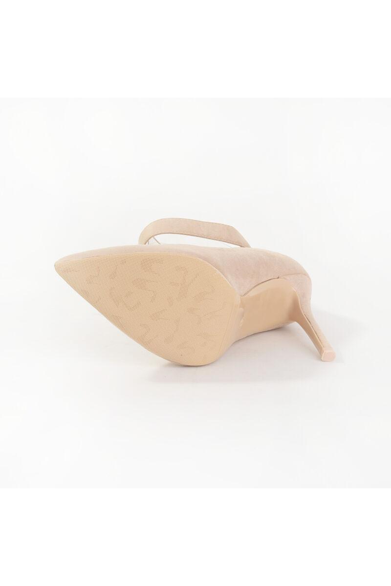 Bézs Bokacsattos Művelúr Magassarkú Cipő