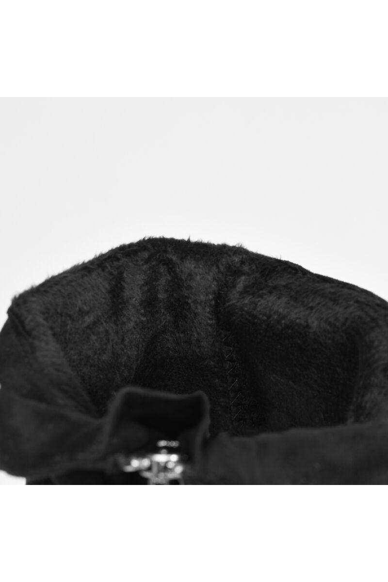 Fekete Női Művelúr Magasszárú Magassarkú Csizma
