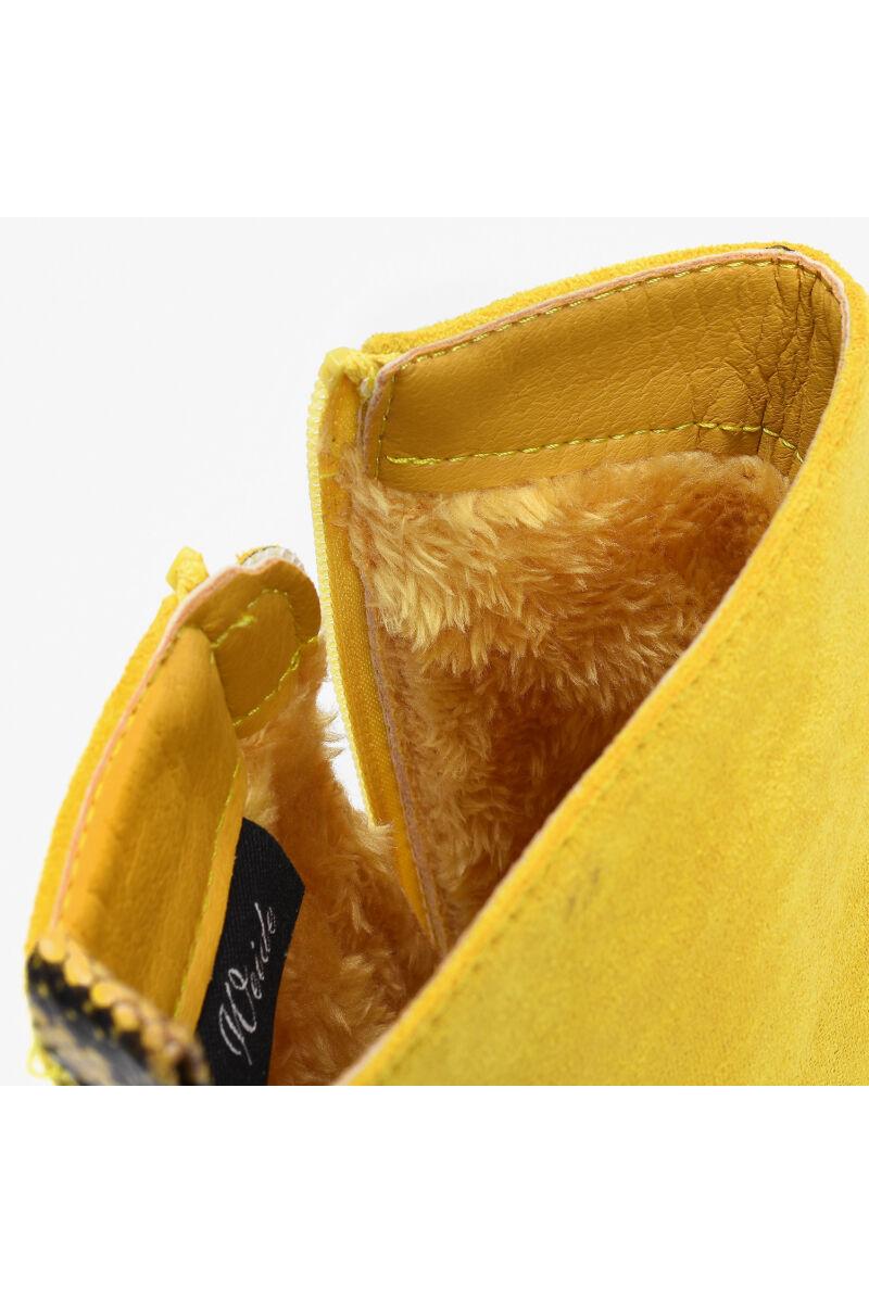 Mustársárga Női Művelúr Bakancs