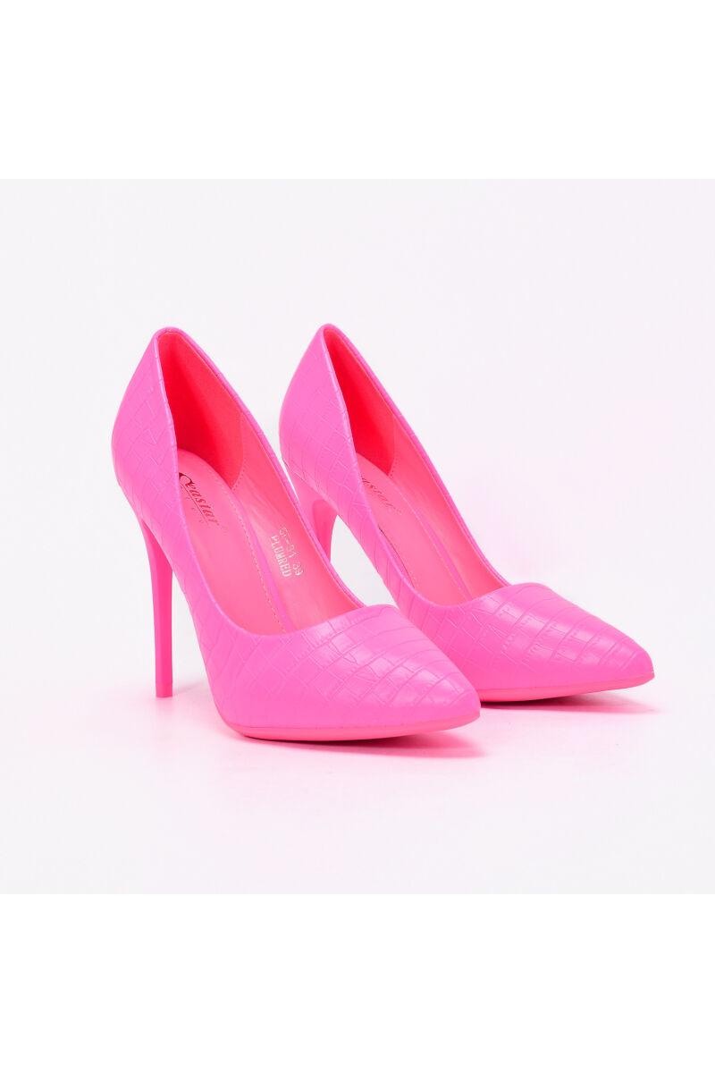 Kígyómintás Neon Rózsaszín Műbőr Női Magassarkú