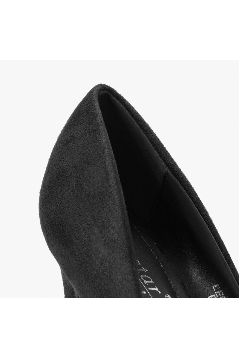 Elegáns Fekete Művelúr Női Magassarkú Cipő