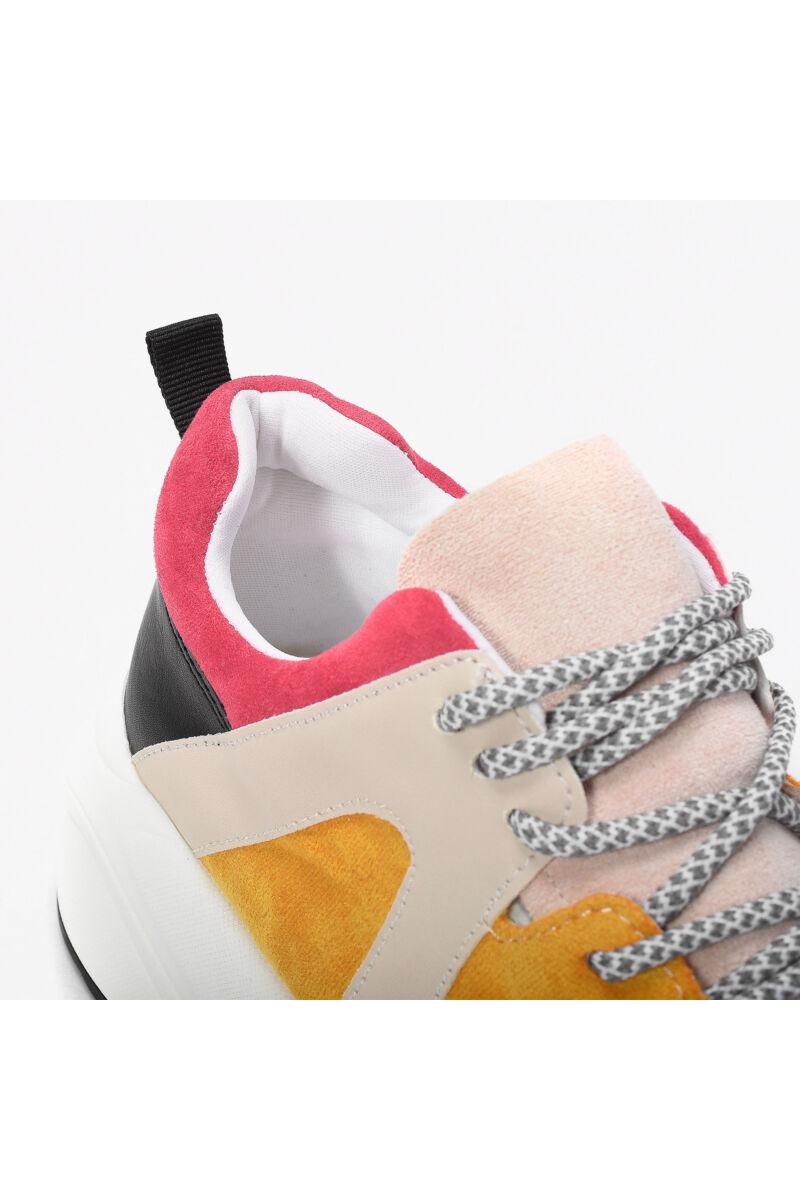 Divatos Sárga Magastalpú Művelúr Női Utcai Cipő
