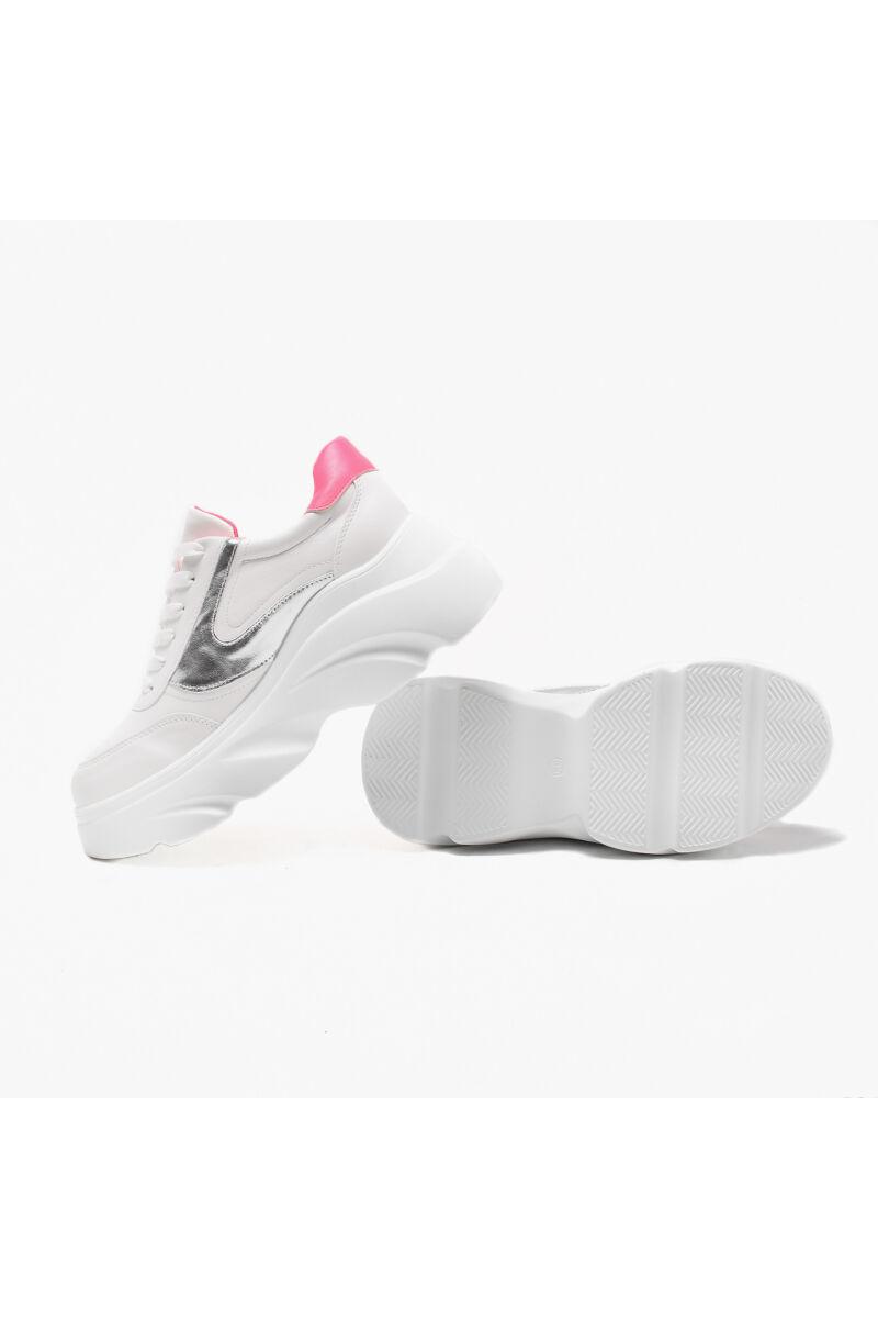 Divatos Fehér-Rózsaszín Magastalpú Női Utcai Cipő