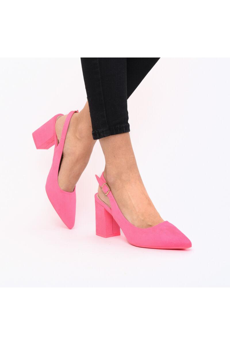 Nyitott Sarkú Rózsaszín Művelúr Női Magassarkú Cipő