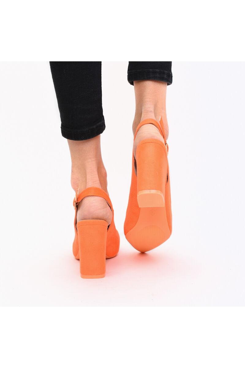 Nyitott Sarkú Narancssárga Művelúr Női Magassarkú Cipő