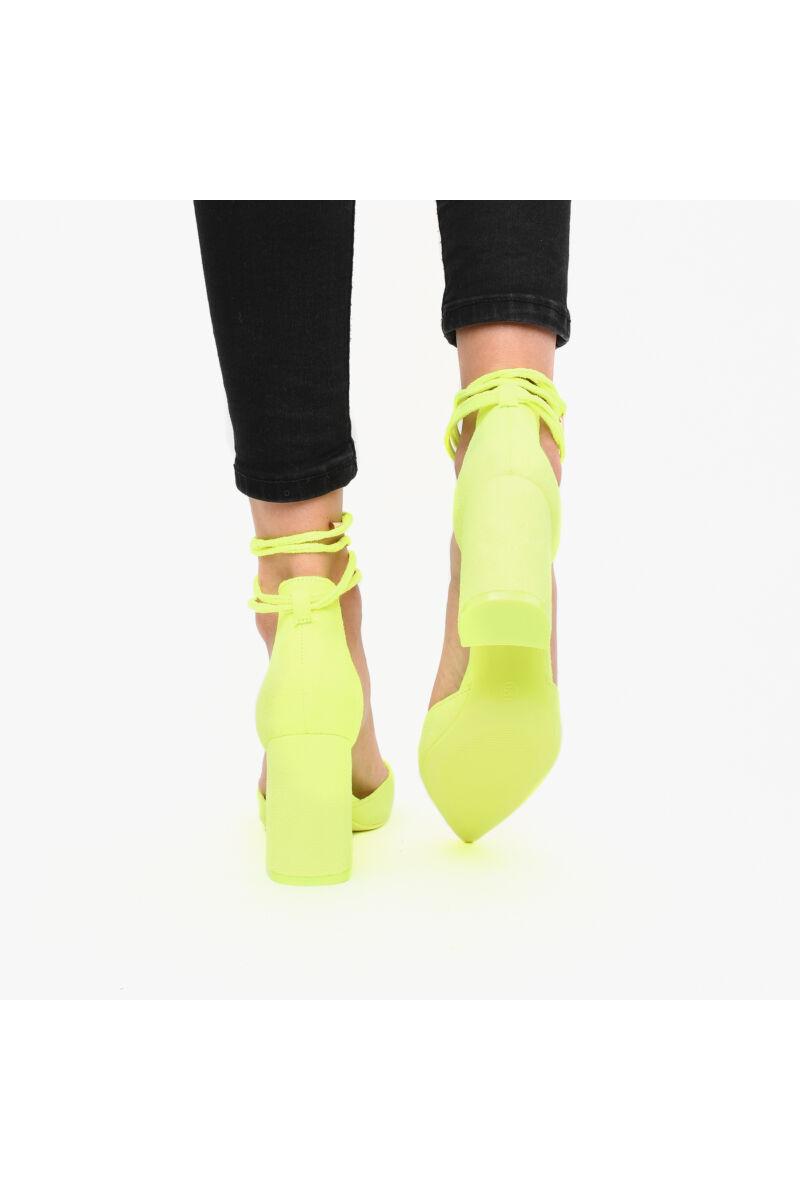Fűzős UV Sárga Művelúr Női Magassarkú Cipő