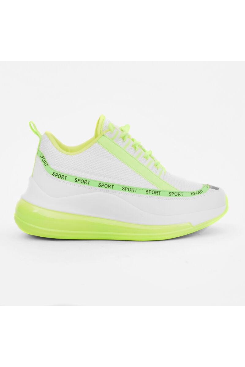 Neon Sárga-Fehér Szintetikus Női Utcai Cipő