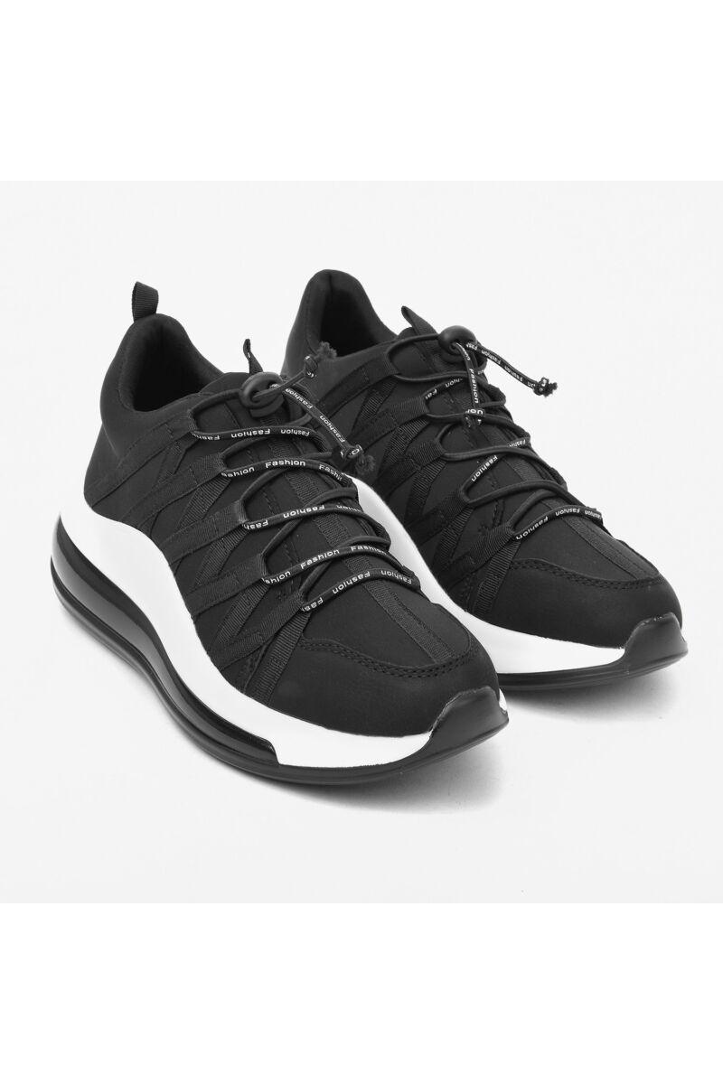 Fekete gumifűzős utcai cipő