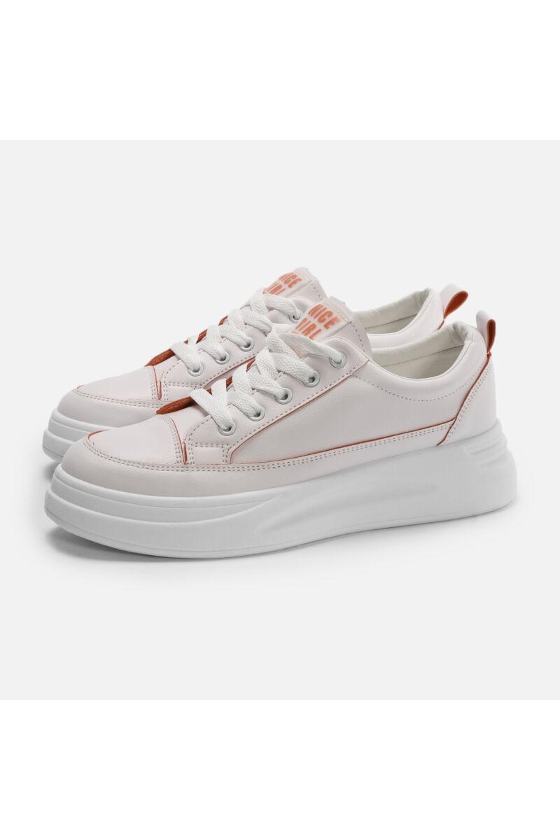 Fehér - Narancssárga magas talpú női félcipő