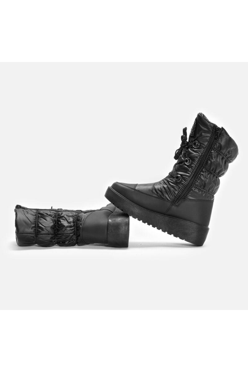 Fekete PVC Vízálló cipzáras-fűzős Bélelt Női Hótaposó