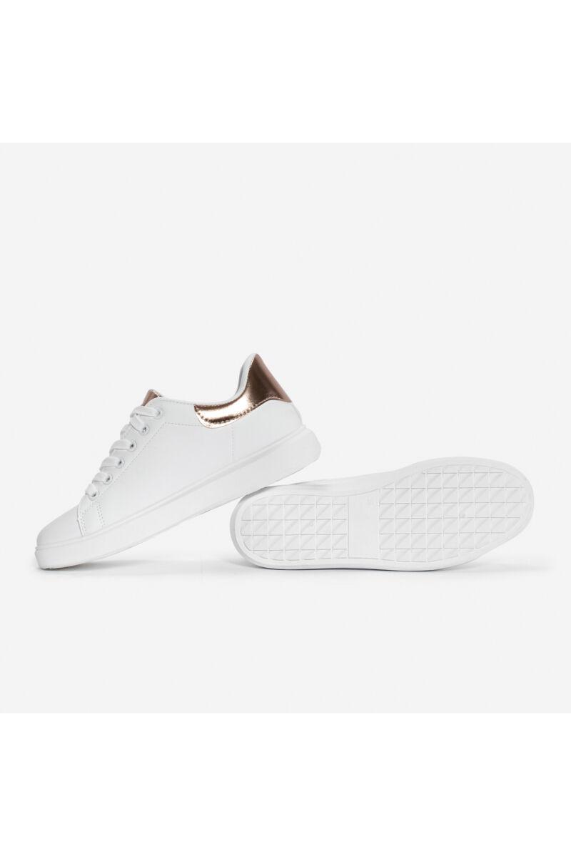 Rózsaarany-Fehér letisztult műbőr női sportcipő
