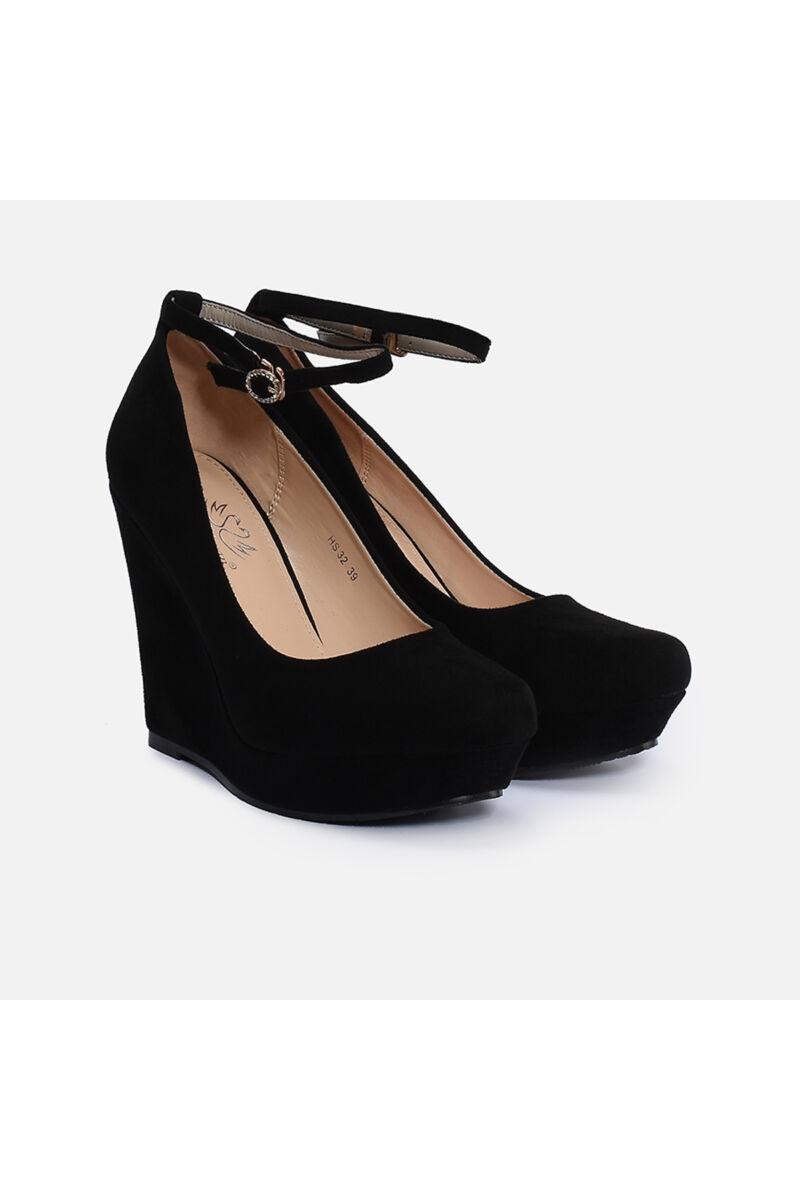 Női Fekete Művelúr Telitalpú Cipő