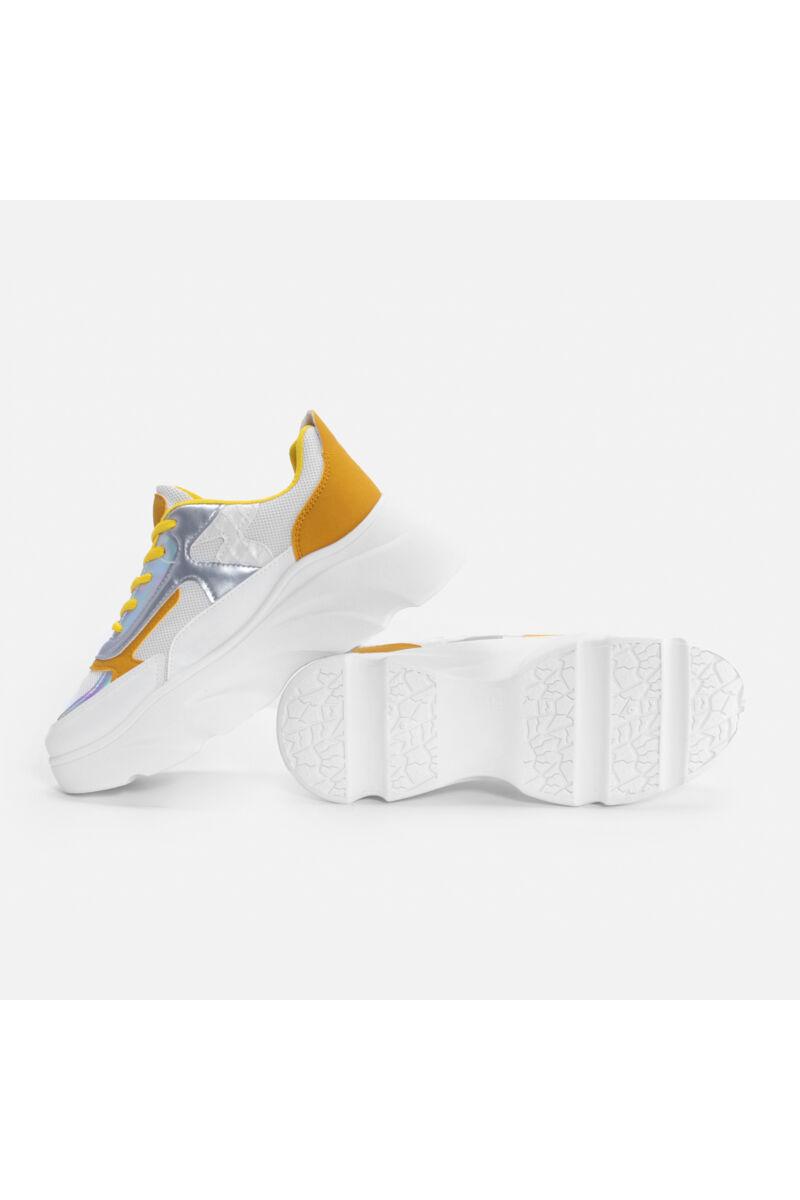 Sárga magasított talpú sportcipő
