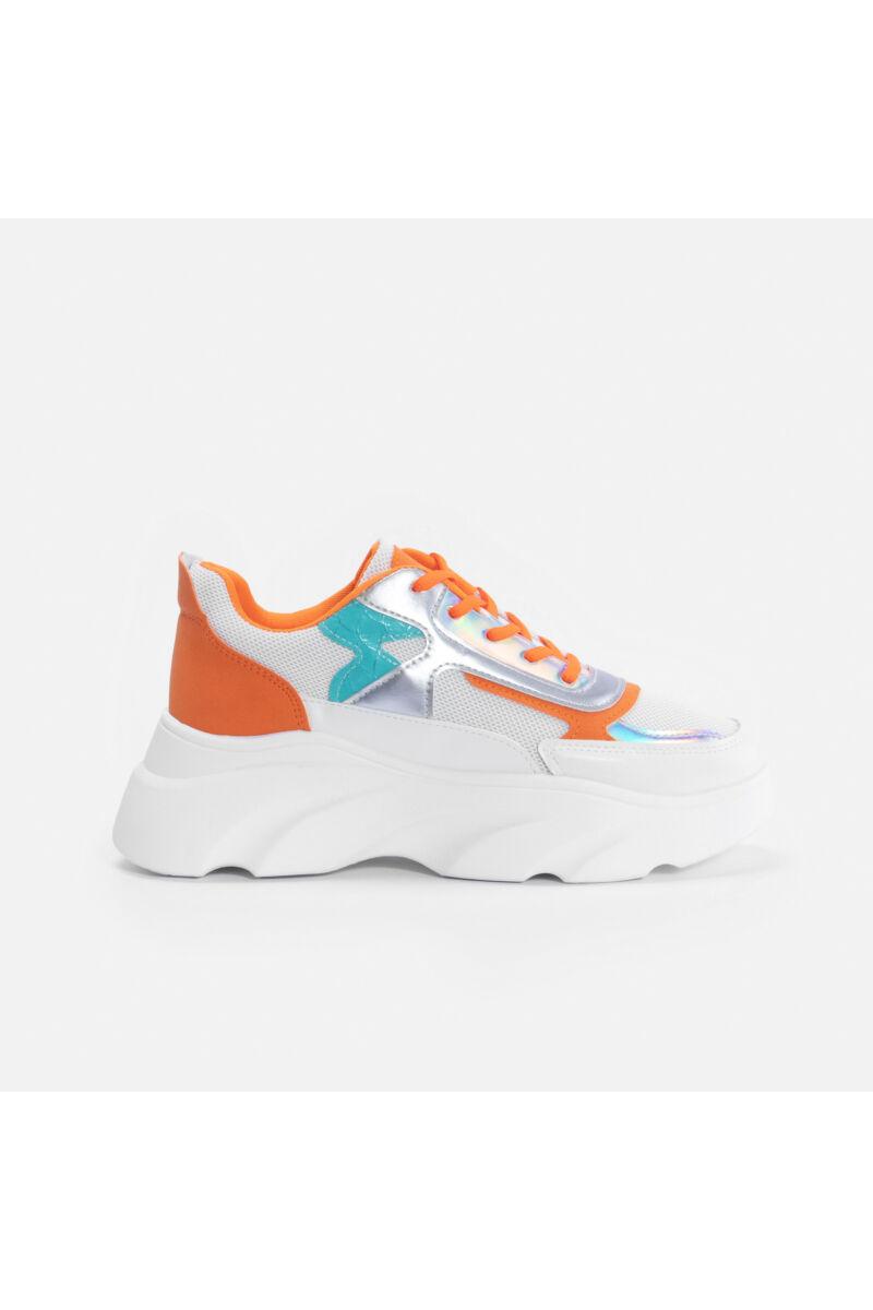 Narancssárga magasított talpú sportcipő