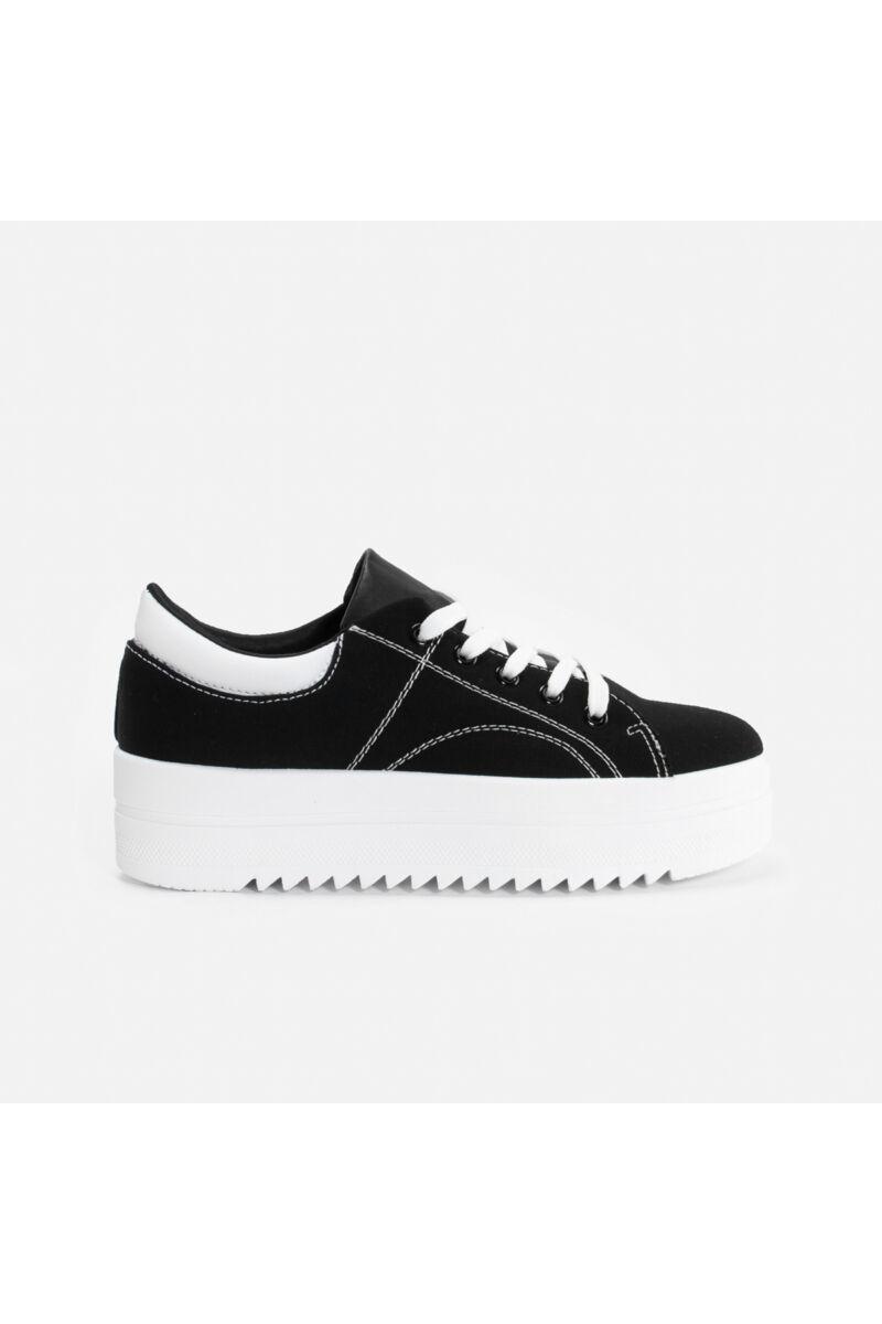 Fekete Magasított talpú szövet utcai cipő