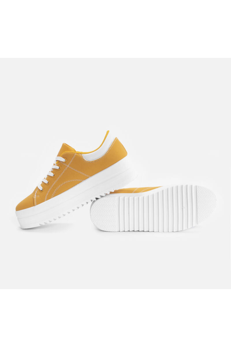 Mustársárga Magasított talpú szövet utcai cipő