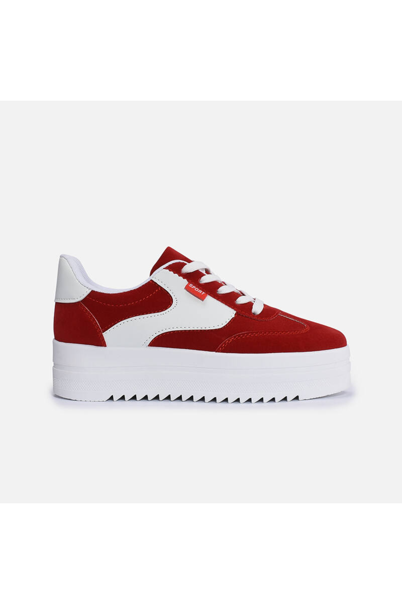 Bordó művelúr-műbőr magastalpú utcai cipő