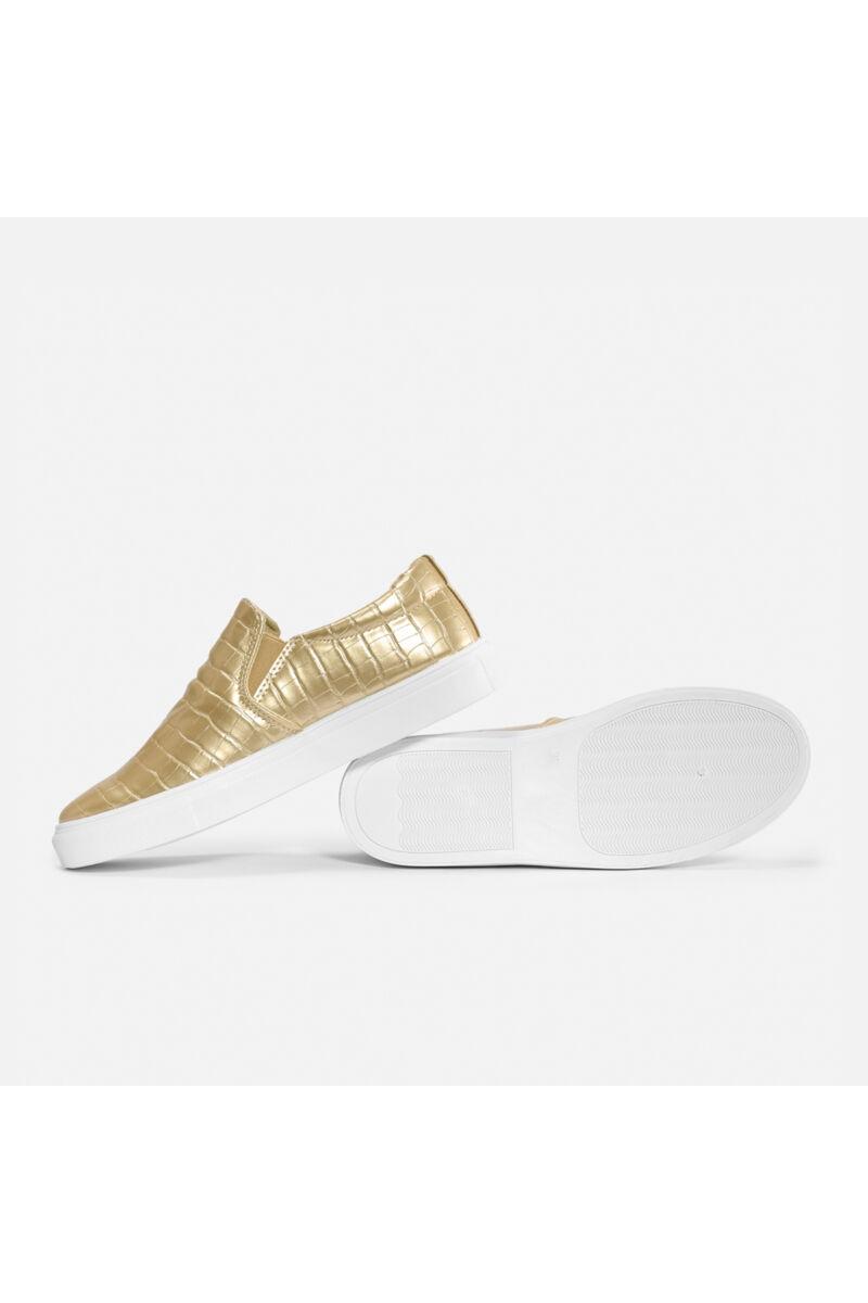 Arany mintázott belebújós félcipő