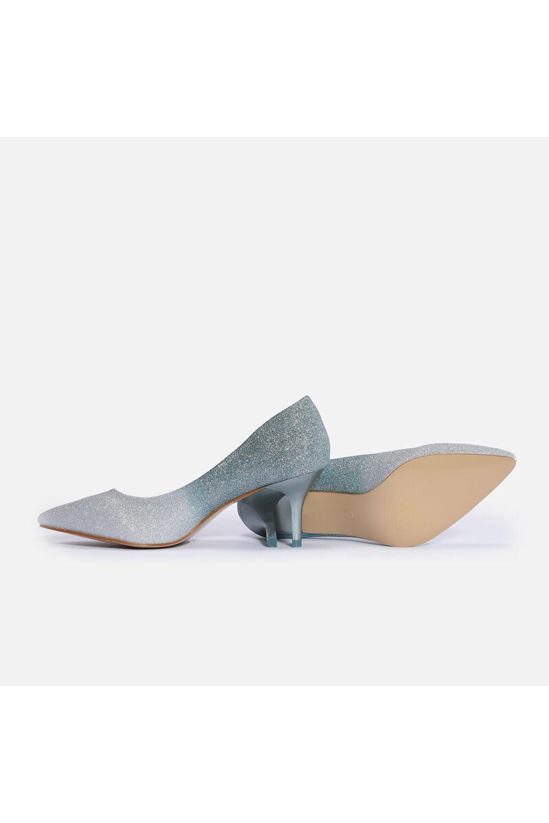 Türkiz Ombre színátmenetes csillogós törpesarkú alkalmi cipő