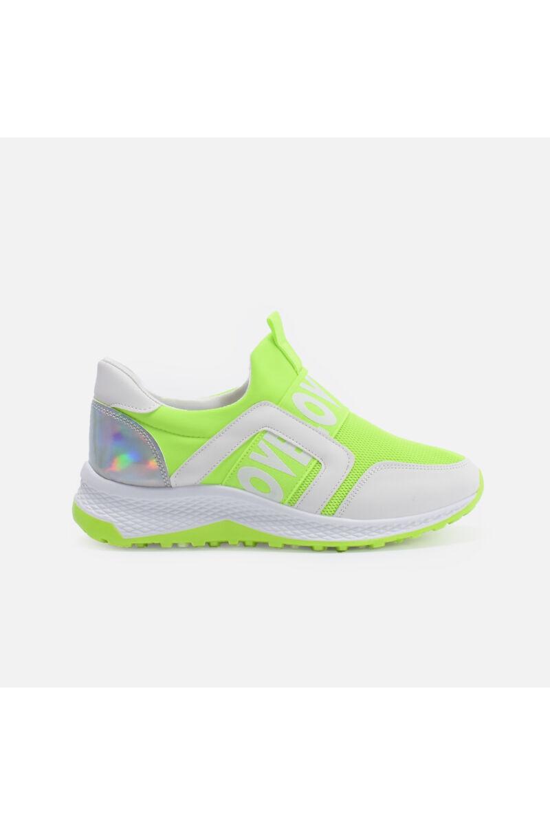 Neonzöld gumipántos utcai cipő