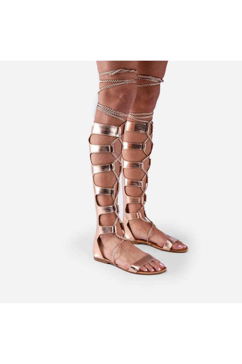 Rozé-Arany Színű Női Gladiátor Szandál Fonott Megkötővel