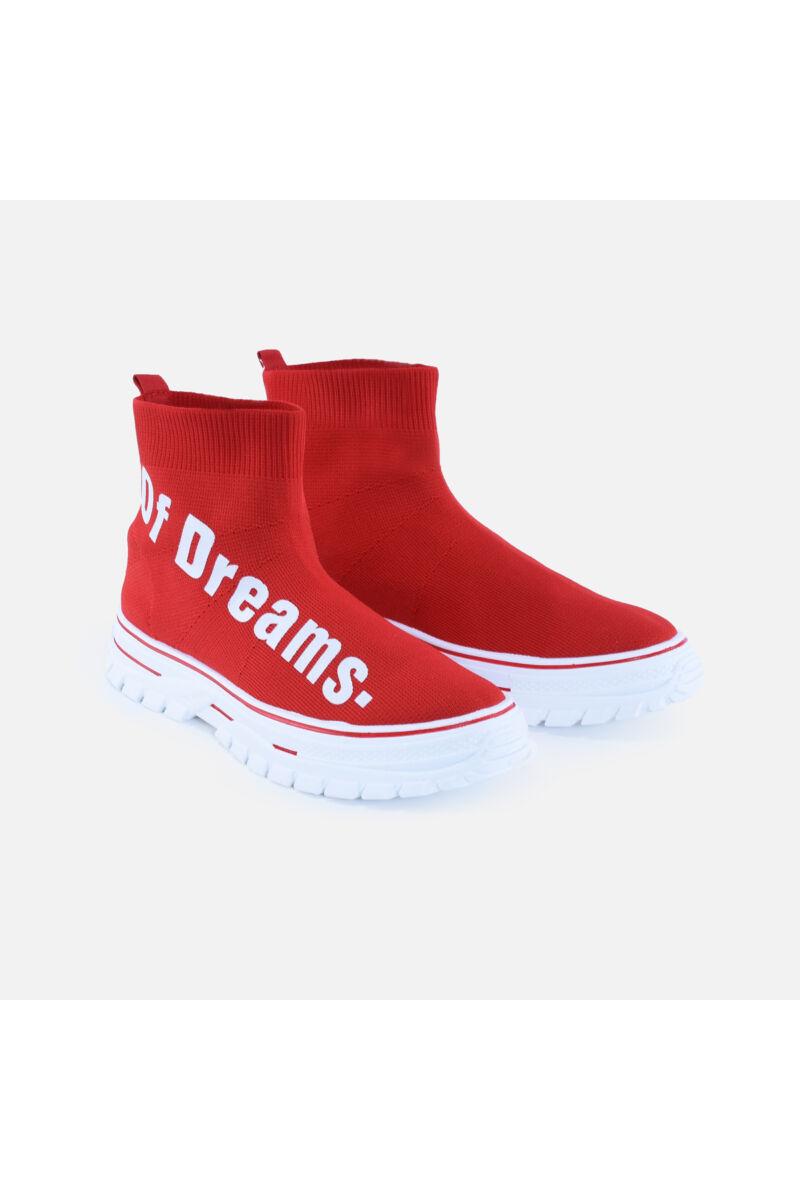 Piros magasszárú feliratos zoknicipő