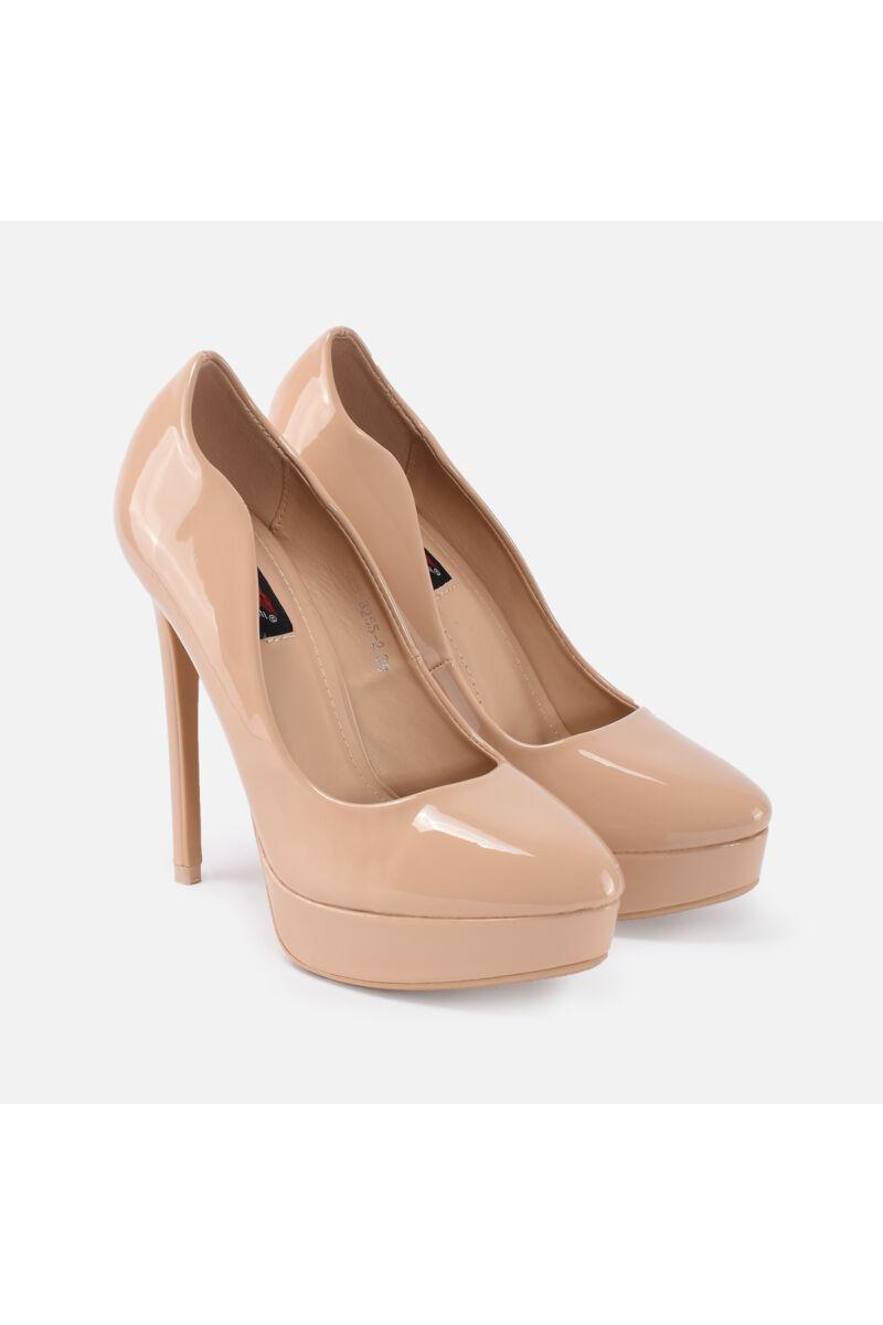 Bézs Lakk Platform cipő
