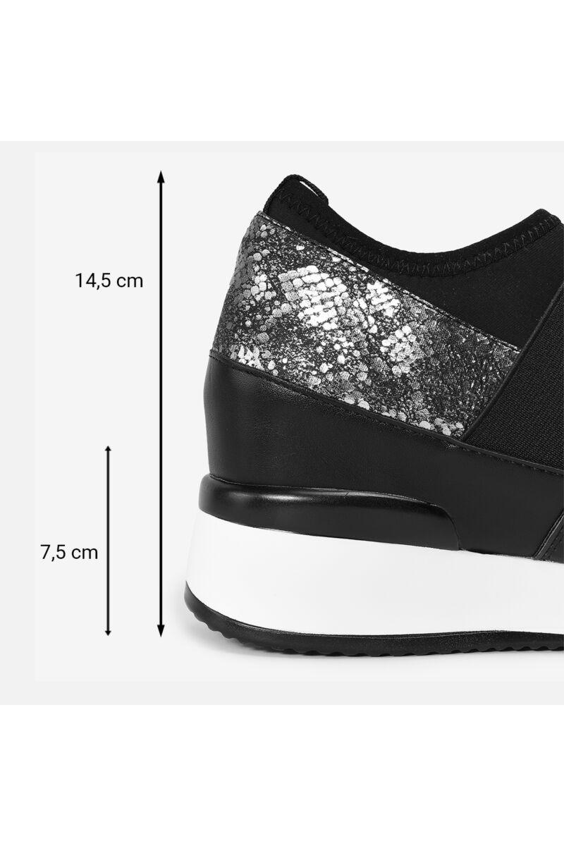 Magasított talpú csillámos ezüst cipő