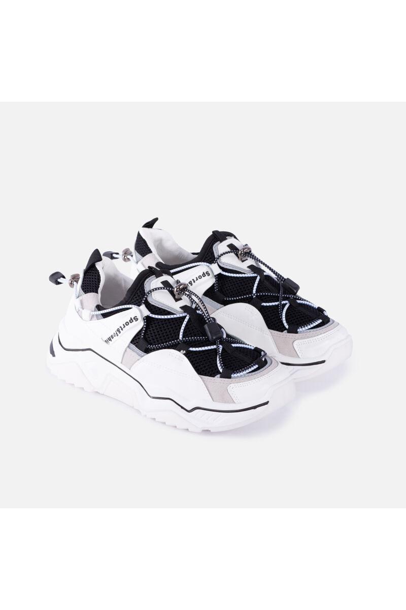 Fehér-Fekete Magastalpú Textil Szellőző Női Sportcipő