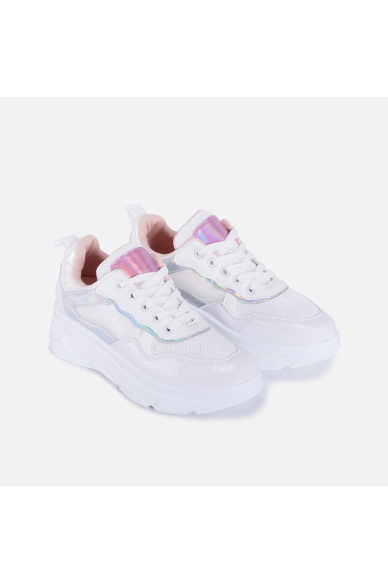 Fehér-Rózsaszín Magastalpú Női Sportcipő