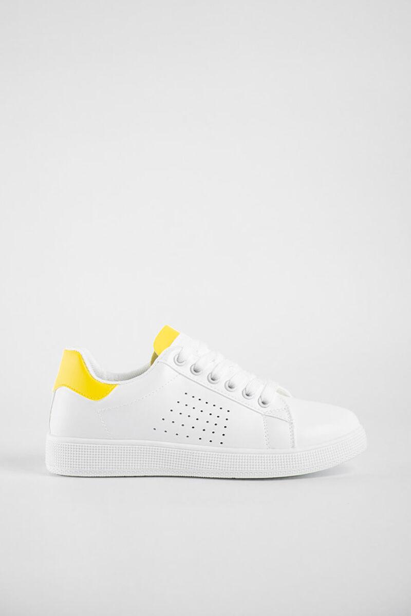 Egyszerű Fehér Utcai Cipő Sárga díszítéssel
