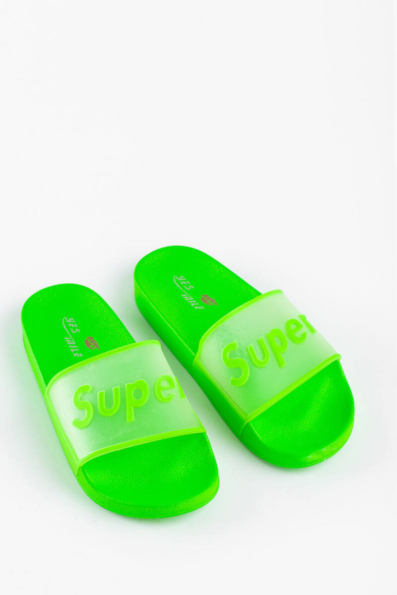 Neonzöld Kényelmes Női Gumi Papucs Feliratos Átlátszó Pánttal
