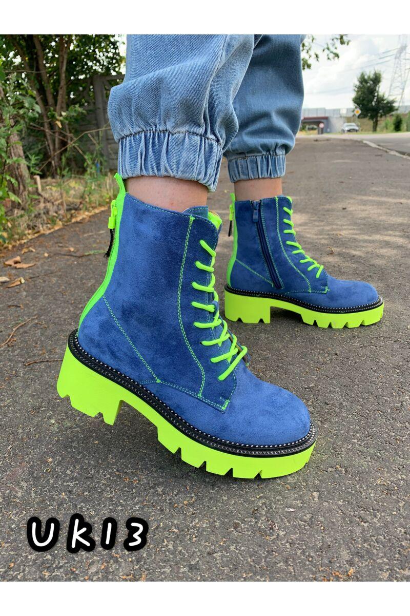 Neonzöld talpú kék színű cipzárdíszes női művelúr bakancs