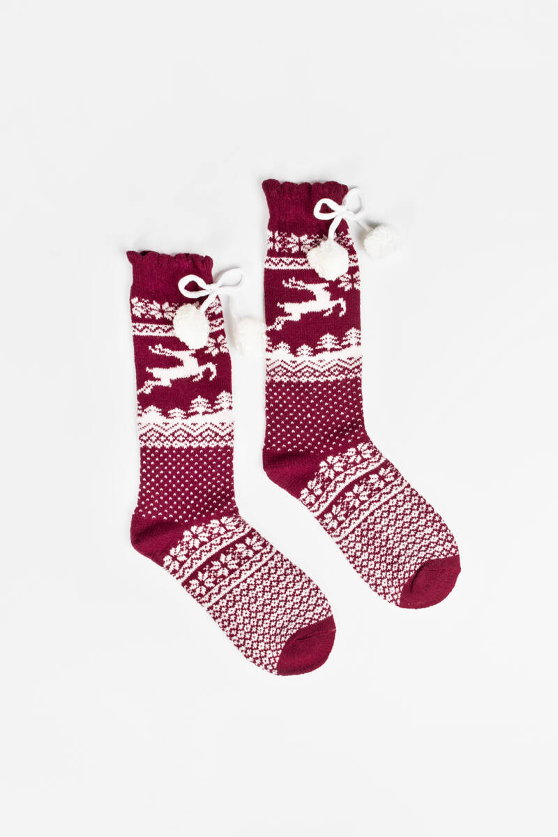 Rénszarvasos Norvég Mintás Karácsonyi Zokni Bojtokkal