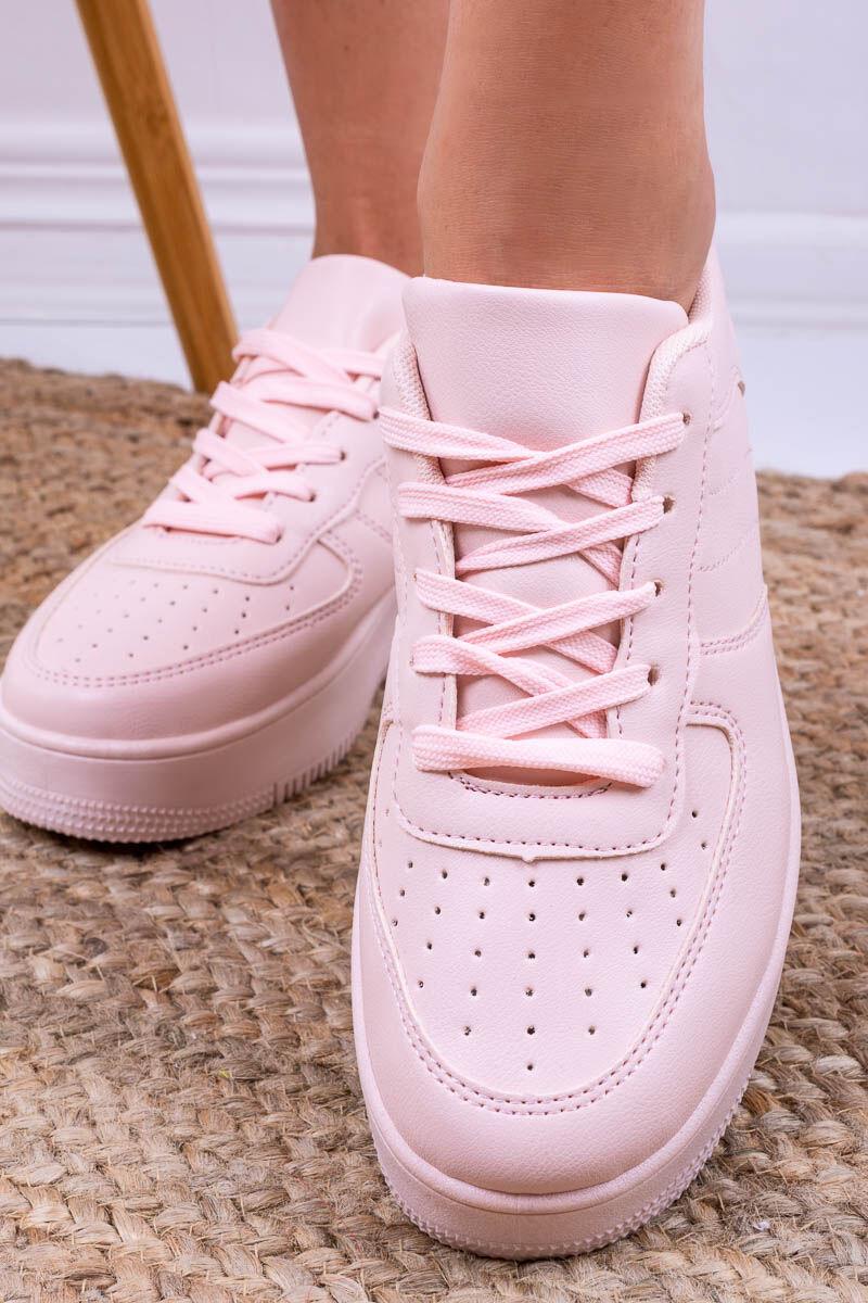 Rózsaszín Műbőr Utcai Cipő Magasított Talppal