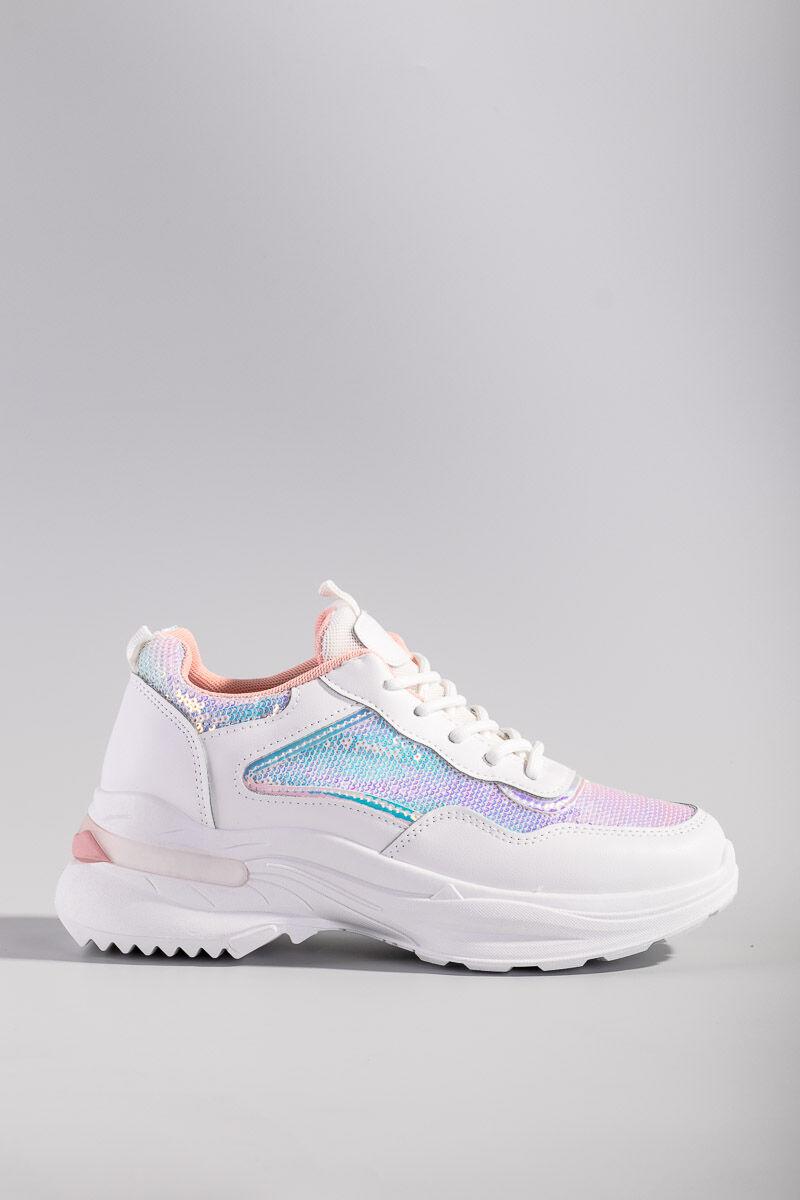 Világos rózsaszín divatos flitteres magasított talpú utcai cipő