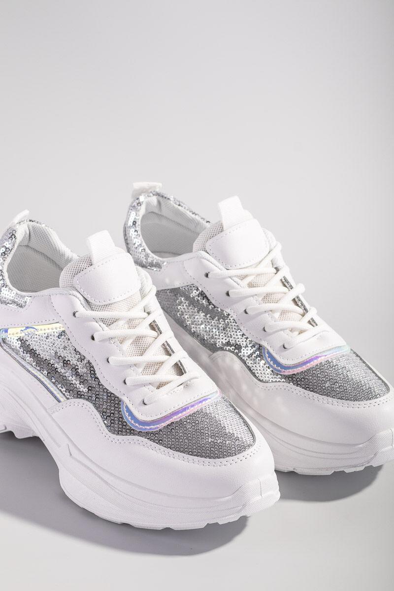 Fehér divatos flitteres magasított talpú utcai cipő