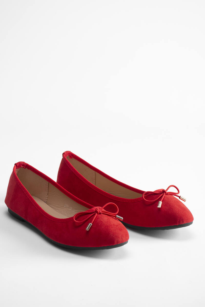 Puha Piros Lapos talpú Művelúr Balerina cipő