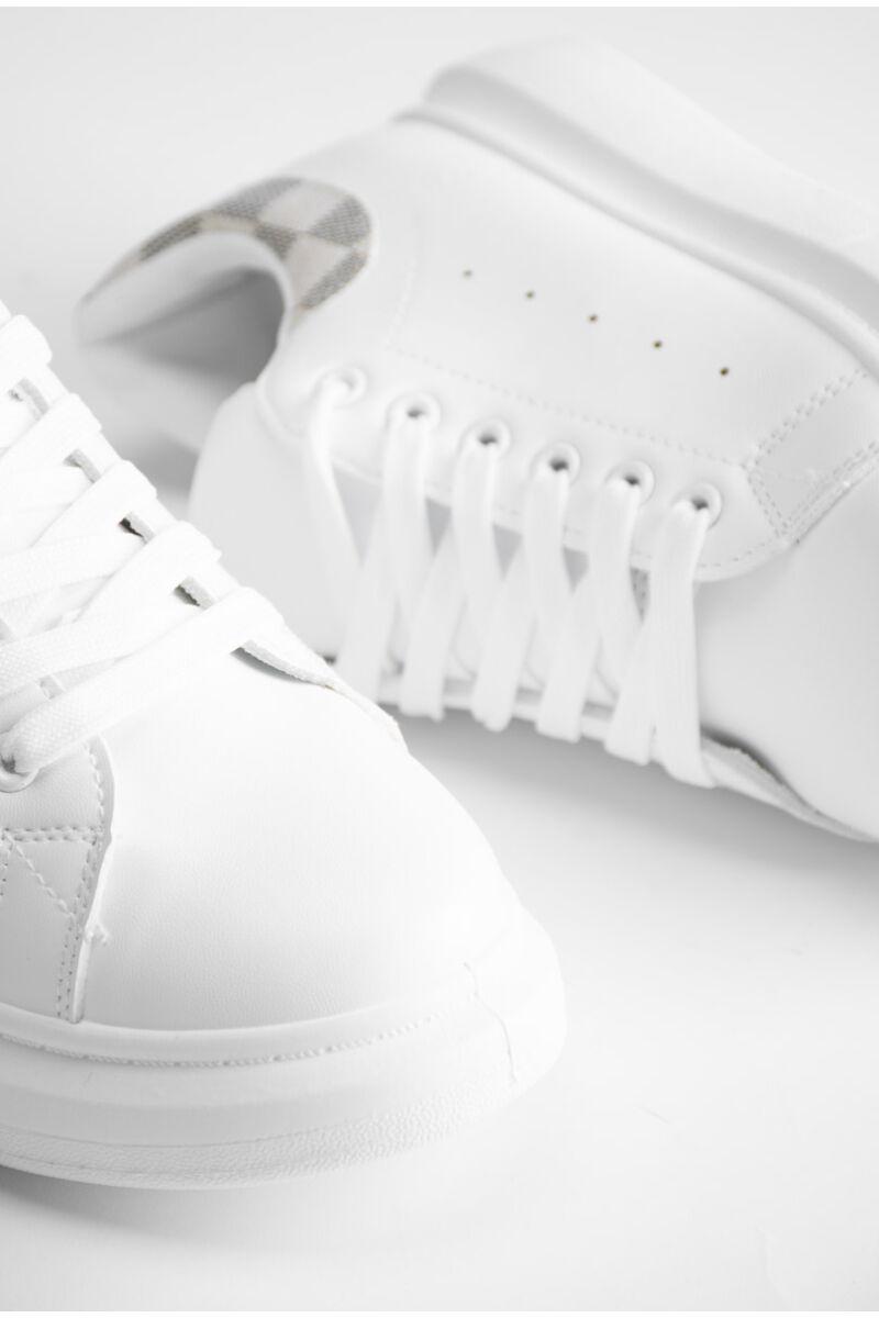 Fehér női műbőr sportcipő bézs kockás díszítéssel