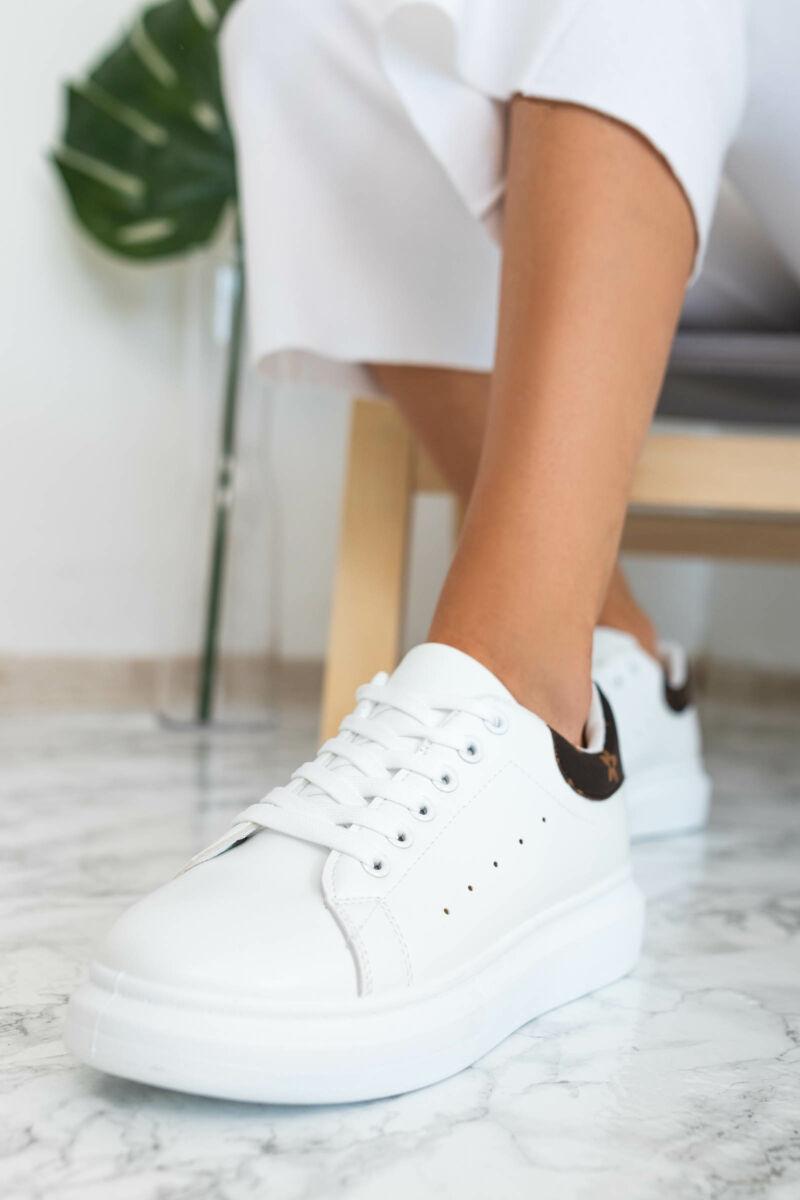 Fehér női műbőr sportcipő barna díszítéssel