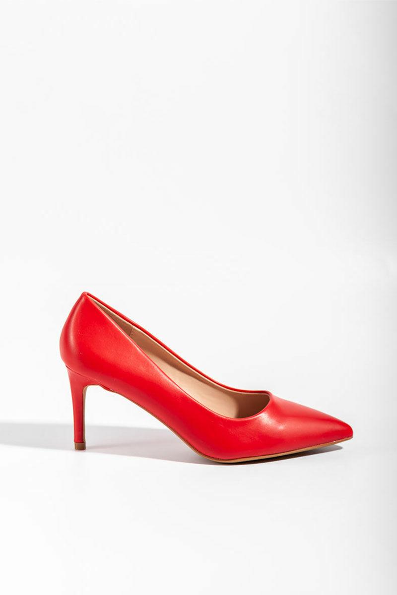 Piros Műbőr Női Magassarkú Cipő