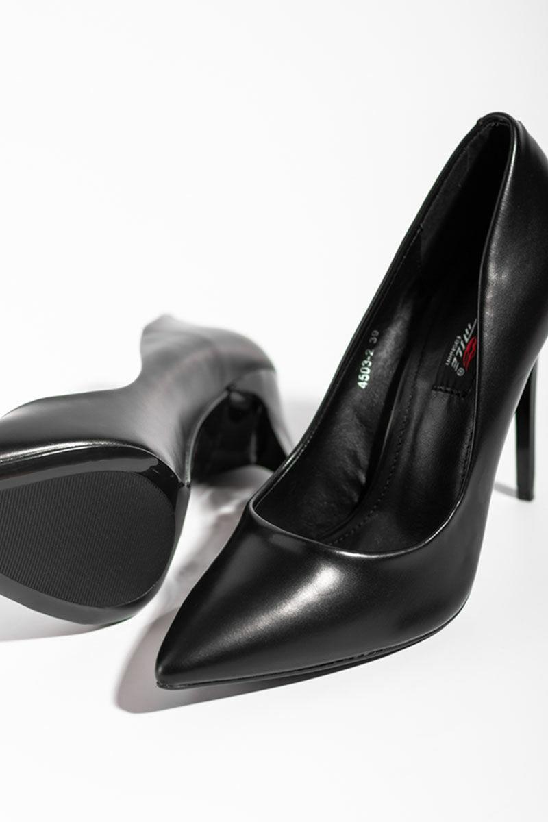 Női Fekete Műbőr Magassarkú Cipő