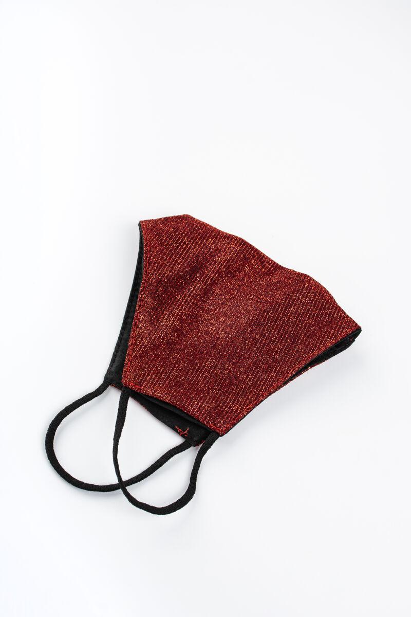 Piros Színű Csillogó 2 Rétegű Trendi Textil Szájmaszk