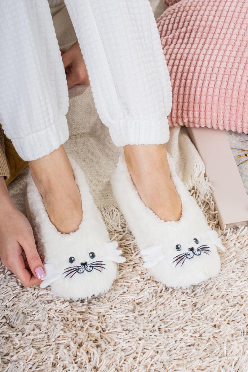 Fehér Állatos Szőrmés Mamusz