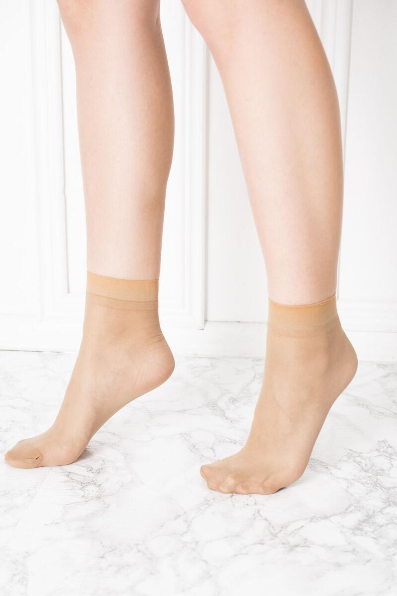 2 Pár Bézs Női Selymes Fényű Elasztikus Harisnya-zokni