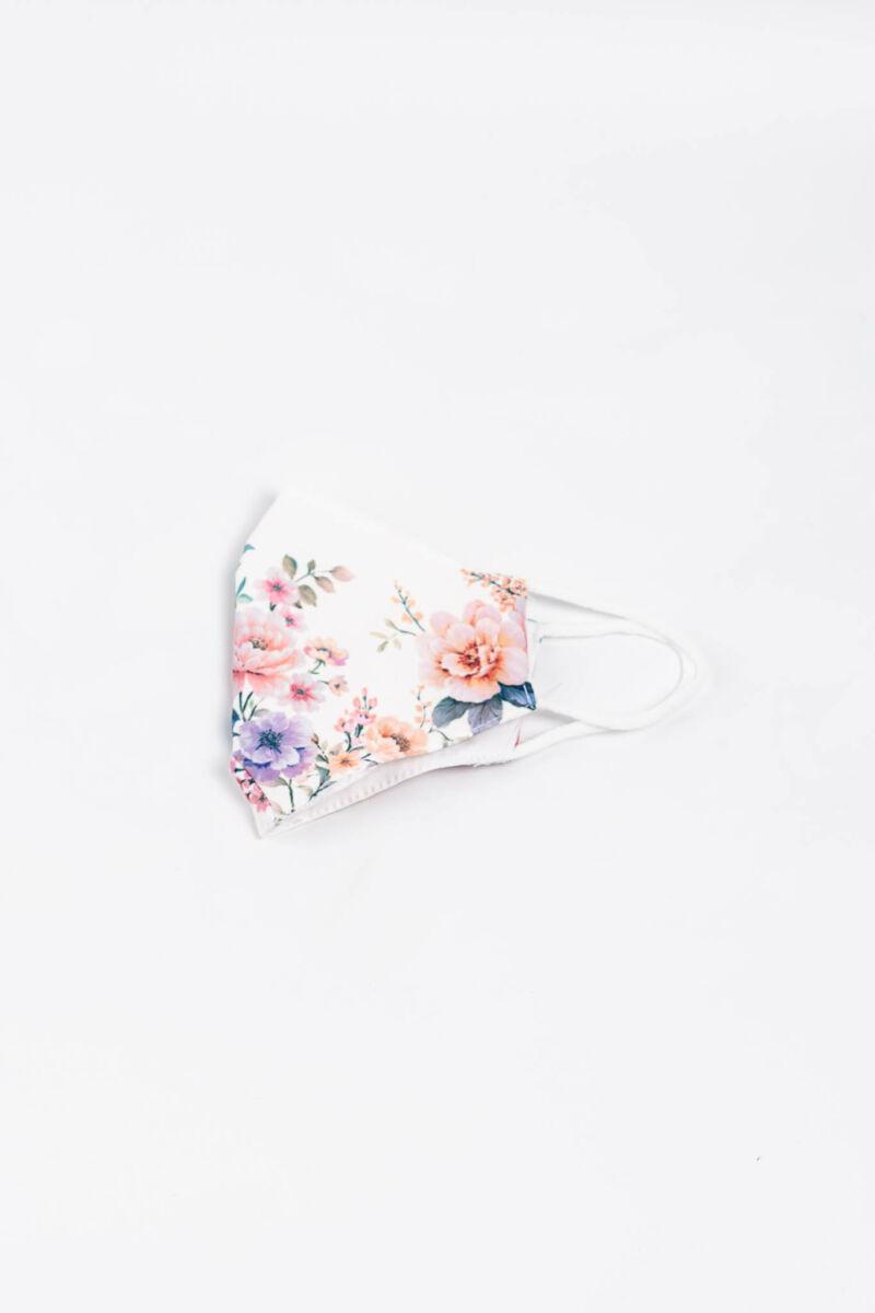 Fehér Virág Mintás 2 Rétegű Trendi Textil Szájmaszk